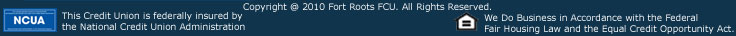 Footer with copyright Fort Roots FCU
