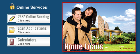 Links to Home Loan, Online Banking, and Loan Application